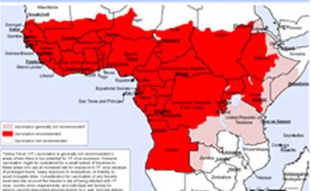 rot: Gelbfieber in Afrika